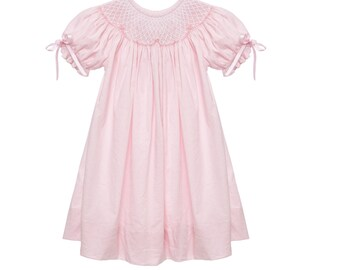 Pink Smocked Dress with Ribbons on the Sleeves