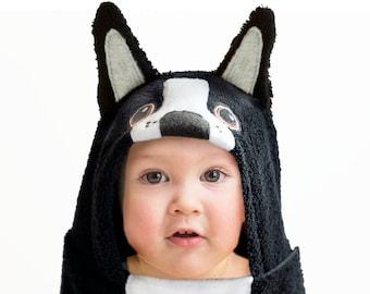 Hooded Towel / Boston Terrier / Hooded Bath Towel Baby / Dog Hooded Towel / Animal Towel / Baby Gift / Baby / Toddler