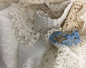 Vintage to Antique Lace and Ribbon Scraps  Grab Bag 12 Pieces Lace 9 Ribbon Small Bits and Pieces Doll Making Journal Scrapbook Collage