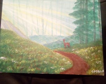 Deer in the sunlit forest Acrylic painting