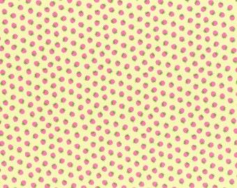 1/2 yard Lecien Japan Minny Muu Fall 2015 Collection - Yellow Strawberries 40587L-50