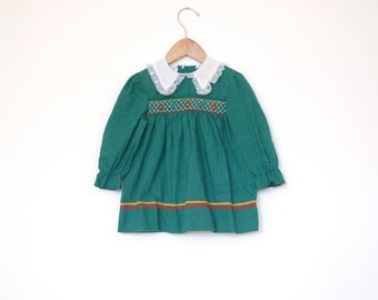 Girls Smocked Green Long Sleeve Tunic Top - 3T