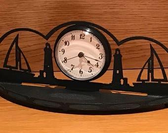 Sailboat-Lighthouse Themed Desk Clock Organizer