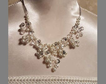 pearl necklace /statement necklace /special occasion jewellery /bridal jewellery / prom necklace / crystal necklace/ wedding jewellery