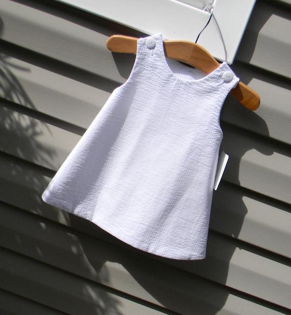 Girls White Seersucker Jumper Dress, Add Monogram with purchase of Monogram Upgrade