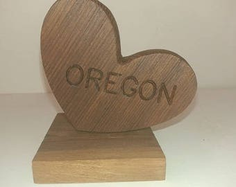 Engraved Salvaged Redwood Heart