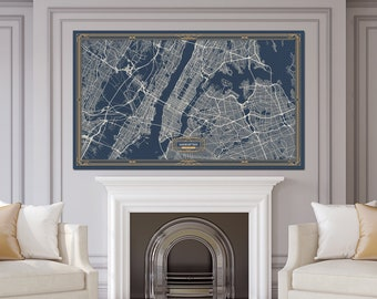 MANHATTAN New York map Art Deco Large Canvas print Map Horizontal Wall art canvas print ready to hang Gallery Art Deco Map Style
