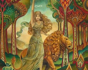 Strength Tarot Psychedelic Pagan Gypsy Goddess Mini Altar Art Nouveau ACEO Pagan Mythology Psychedelic Bohemian Gypsy Goddess Art