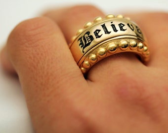 Large Believe text statement ring, Personalized ring, Mens, Steampunk Ring, Chunky ring,  gold letters ring
