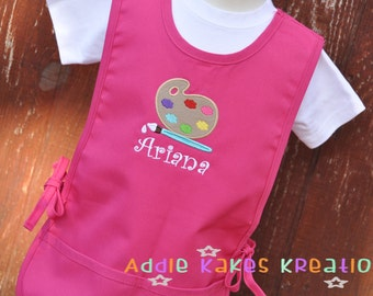 Personalized Paint Palette Kids Art Smock