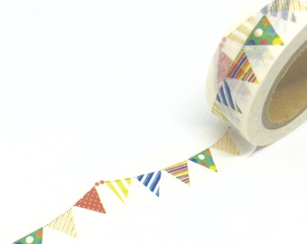 Green Dots and Blue Stripes Bunting Washi Tape 15mm x 10m