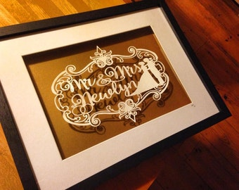 Personalised Mr and Mrs Paper cut template - personal use