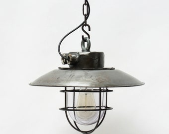 Ceiling lamp made of steel with light shade