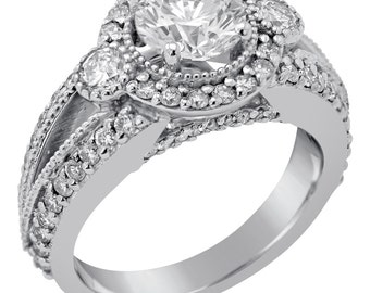 Round cut antique style diamond engagement ring R182