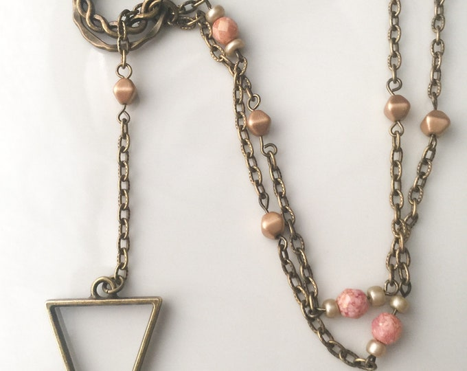 Bronze Calypso Lariat, pink tan and gold beads, Y necklace, brass jewelry, triangle jewelry, boho jewelry, earthy jewelry, unique gifts