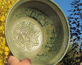 Serving Bowl with Carvings - See pictures - Handmade Pottery