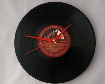 Handmade vinyl record clock