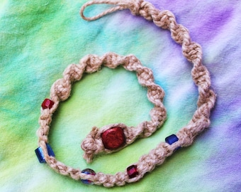 Hemp Necklace with Glass beads