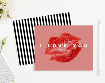 "Printable ""I Love You"" Card Template - Printable Card Design, Greeting Card Template - Photoshop I Love You Card, Love Card"
