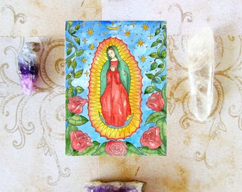 Our Lady of Guadalupe Prayer Card Virgin of Guadalupe Mexican Catholic Saint Voodoo Art Virgin Mary Divine Feminine Pagan Spiritual Santeria