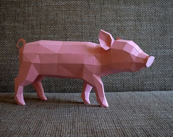Princess P, piglet model printable DIY PDF papercraft template, Paper sculpture