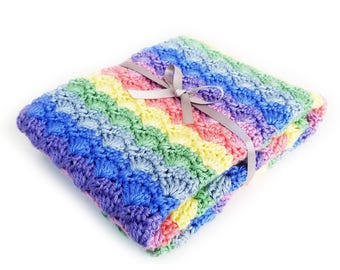 Rainbow Baby Blanket Knit Baby Blanket Crochet Newborn Boy Blanket Baby Crochet Blanket, Crochet Baby Blanket, Baby blanket, Rainbow Blanket
