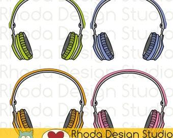 Music Headphones Digital Clip Art Retro