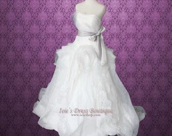 Strapless Princess Ball Gown Wedding Dress with Organza Ruffles