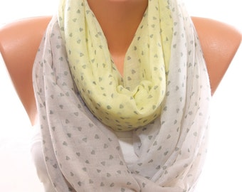 Valentine Gift Heart Print Yellow Light Pink White Woman Scarf Infinity Scarf Fashion Accessory Valentine's Day Gifts Ideas For Girlfriend