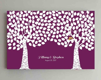 250 Guest Wedding Guest Book Wood Two Double Tree Wedding Guestbook Alternative Guestbook Poster Wedding Guestbook Poster - Wine Burgundy