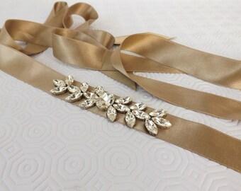 Gold Sash belt.  Swarovski Crystals Sparkly Bridal satin sash belt. Wedding Belt.