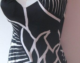 SALE ~SALE~~Vintage Black & White Retro Swim Suit by Sirena..Molded Cups..Bathing Suit..Sun Suit..Romper