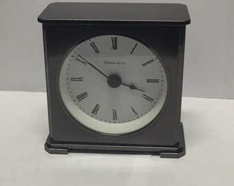 Vintage Tiffany & Company Battery Operated Solid Brass Desk Clock