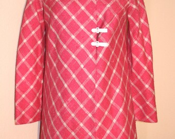 Vintage Pink and White Plaid Coat