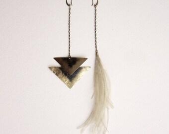 Mismatched earrings, Feather earrings, Tribal earrings, Boho earrings, bohemian earrings, Asymmetric earrings, african jewelry