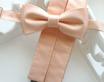 Peach Bow Tie, Suspenders or Set, Adults & Children, Made in USA 10% OFF for orders of 5 or more! Please use coupon code TENOFF5 at checkout