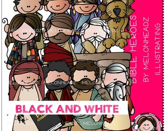 Bible heroes clip art - BLACK AND WHITE