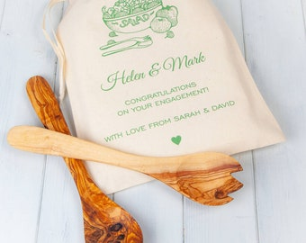 Olivewood Salad Servers And Personalised Gift Bag