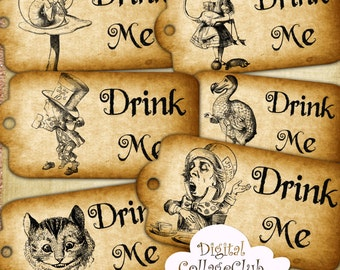 Alice in Wonderland Drink Me Large Tags Digital Alice Tea Party Time Mad Hatter Alice Quote Alice Wedding Alice Decorations