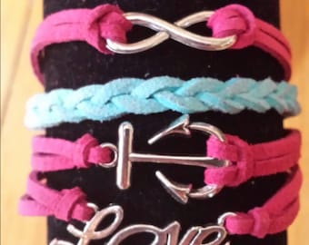 Infinity Anchor Love Adjustable Leather Bracelet