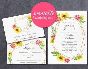 Sunflower Wedding Invitation Printable Fall floral Wedding invitations Gold Pink yellow autumn fall wedding Invite elegant geometric