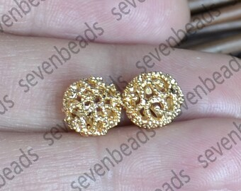 3pcs 24K gold plated Brass Hollow Filigree Ball Spacer,10mm Connectors Jewelry Findings, brass spacers findings beads