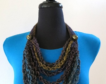 FREE US SHIPPING - Brown Teal Khaki Mustard Purple Patina Color Chains Cords Statement Necklace Lariat Bib with Beads