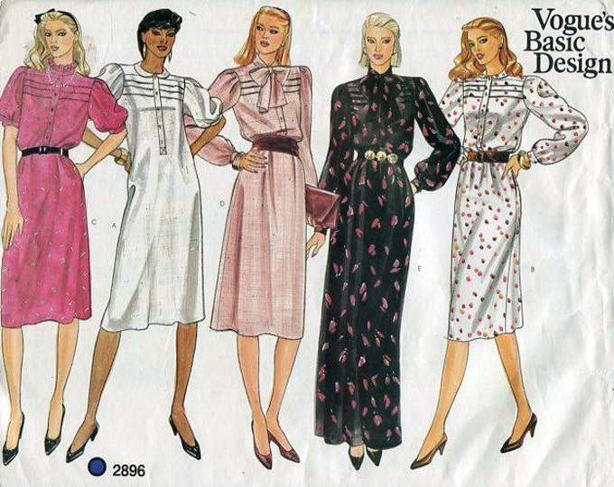 FREE US SHIP  Vogue 2896 Retro 1980's Dress Gown Evening Length Size 10,12 Bust 32.5 34 Sewing Pattern ff Uncut Basic Design