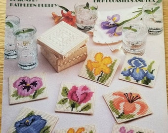 Floral  Coasters in Plastic Canvas
