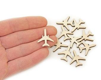 "10pcs. Plane Wood Craft (1"") Shapes Ornament Art Projects Craft Decoration Gift Decoupage MG000353"