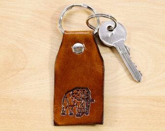 African Elephant Keychain Leather Keyfob Elephant Lover Gift Elephant Key Fob Leather Keychain Africa Key Fob Elephant Keyring Elephant Gift