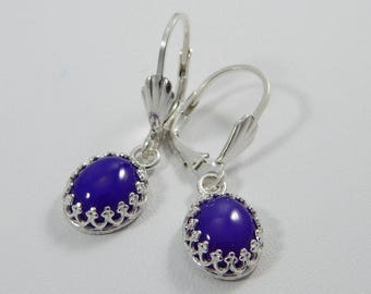 Purple Chalcedony Dangle Earrings. Chalcedony Earrings. Dangle Earrings. Drop Earrings. Purple Chalcedony Cabochons.