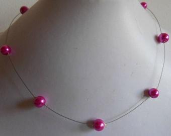 Simple wedding necklace Fuchsia beads