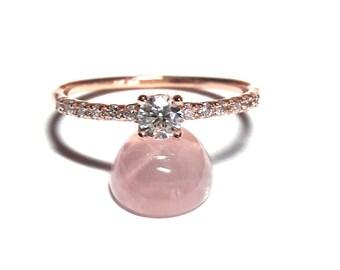 14K Gold Pave Ring-Diamond Ring-Gold Ring-Rose Gold Ring-14K Gold Zirconia Handmade Pave Ring